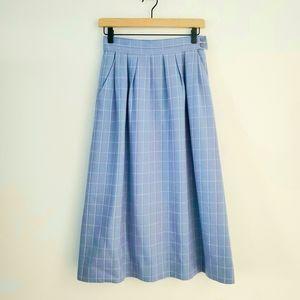 Vintage Miss Pendleton Blue Plaid Wool Skirt